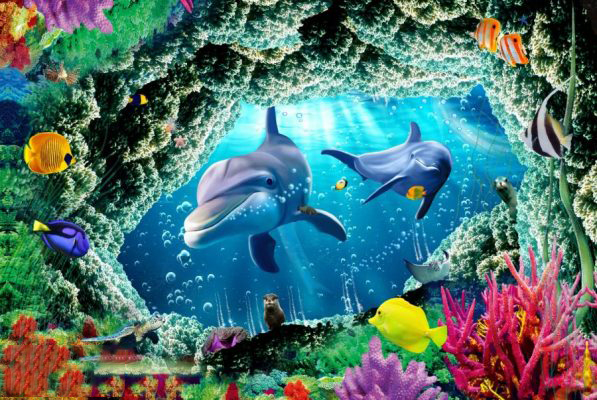 Tranh kính 3D đại dương rực rỡ sắc màu