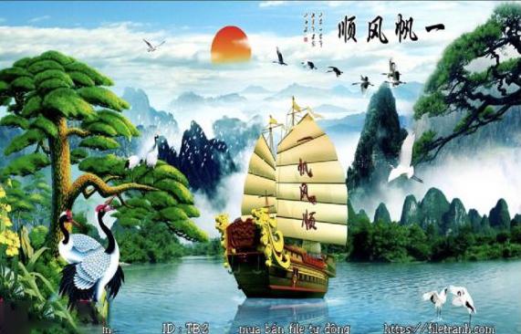 Tranh kính thuận buồm xuôi gió – Tranh 3D thuyền buồm nghệ thuật