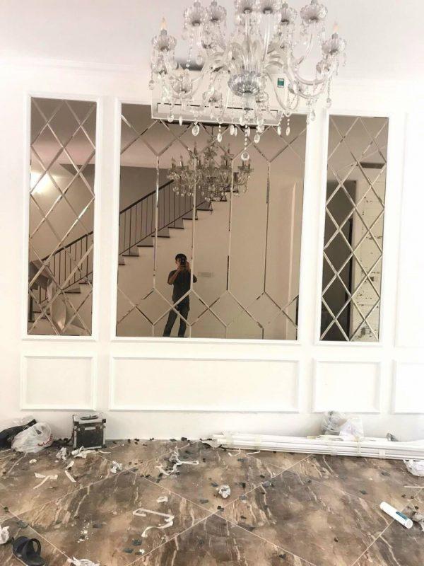 Kính thủy trang trí màu trà - Gương dán tường trang trí phòng khách
